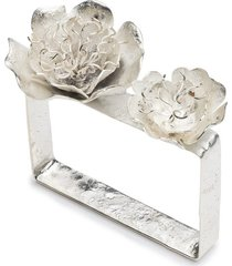 silver plated brass peony bracelet, women's, josie natori