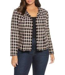 plus size women's cece grid tweed frayed jacket