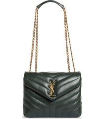 saint laurent small loulou leather shoulder bag - green