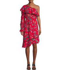 floral one-shoulder midi dress