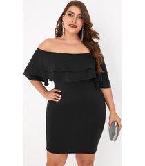 plus tamaño negro doble capa fuera del hombro medias mangas vestido