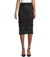 bcbgeneration women's eyelet cotton-blend skirt - black - size s