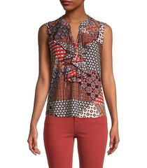 mixed-print ruffle sleeveless top