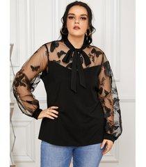 yoins plus talla mariposa patchwork de malla diseño blusa de manga larga