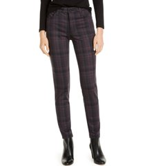 kut from the kloth mia high-rise skinny plaid ponte pants