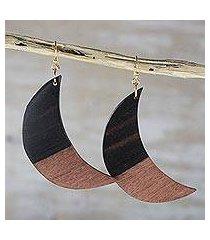 ebony wood dangle earrings, 'moon in shadow' (ghana)