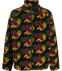 acne studios fruit-print fleece jacket - black