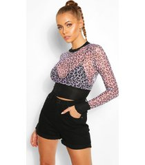 leopard mesh top with contrast band, lilac