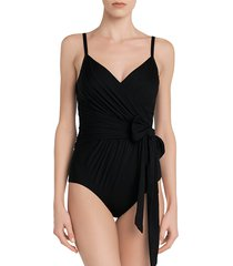 la perla women's aqua drapes side-tie one-piece swimsuit - black - size 34 b