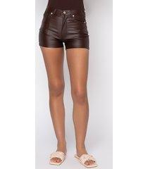 akira on-duty vegan leather lace up shorts