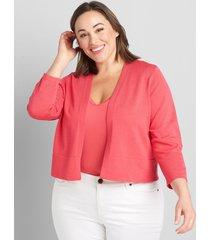 lane bryant women's 3/4-sleeve cropped cardigan 14/16 azalea