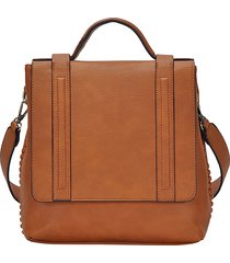 antik kraft convertible faux leather messenger bag - brown