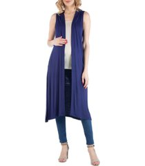 24seven comfort apparel sleeveless long maternity cardigan with side slit