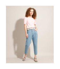 calça baggy jeans com pregas cintura super alta sawary azul claro