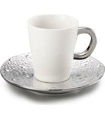 jogo de 12 pçs xícaras para café com pires de porcelana super white drop 100ml lyor