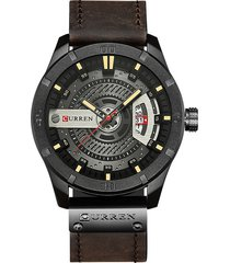 curren date display orologio al quarzo orologi steampunk business leather watches for men