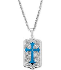"""men's crystal and blue enamel dog tag 24"""" pendant necklace in stainless steel"""