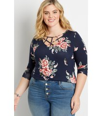maurices plus size womens 24/7 navy floral strappy neck tee blue