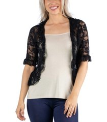 24seven comfort apparel sheer black lace open front shrug