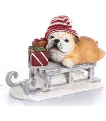 trans pac resin santa hat pup on sleigh