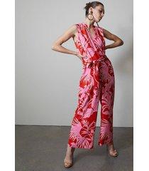 natori aiko printed cdc mandarin jumpsuit, women's, size m