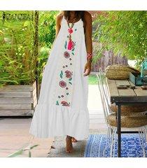 vestido largo sin mangas zanzea para mujer-blanco
