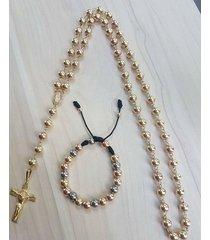 rosario camandula y pulsera oro laminado 18k esferas de 5mm