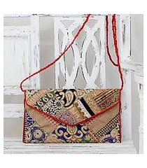 upcycled beaded flap handbag, 'festive dream' (india)