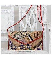 upcycled beaded flap handbag, 'festive dream' (india)