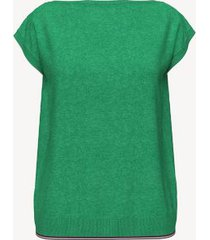 tommy hilfiger women's essential solid sweater t-shirt lush green heather - s