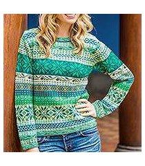 100% alpaca sweater, 'cozy forest' (peru)