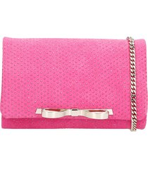 red valentino clutch in fuxia suede