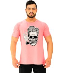 camiseta tradicional gola redonda alto conceito caveira de cachimbo e cabelo grisalho rosa beb㪠- rosa - masculino - algodã£o - dafiti