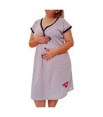 camisola plus size linda gestante manga curta maternidade três corações