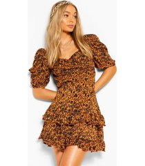 woven printed puff sleeve blouse, terracotta
