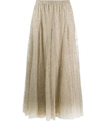 brunello cucinelli sequin tulle skirt - neutrals