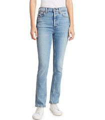 double needle high-rise straight jeans