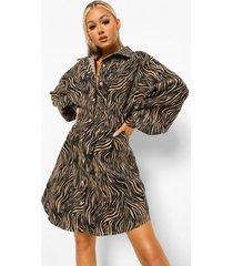 tall getailleerde corduroy zebraprint blouse jurk, black