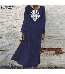 zanzea de mujeres con cuello en v casual impresión floral larga camisa de vestir de gran tamaño kaftan vestido a media pierna -azul marino
