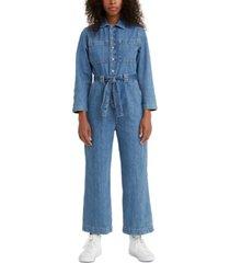 levi's cotton cropped denim jumpsuit