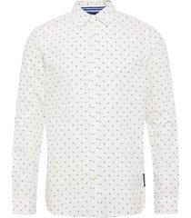 regular fit- classic all-over printed poplin shirt skjorta casual vit scotch & soda