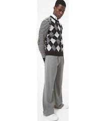 mk pullover in cashmere con motivo a rombi e borchie - nero (nero) - michael kors