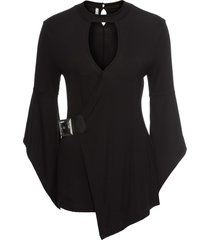 maglia a maniche lunghe con fibbia (nero) - bodyflirt boutique