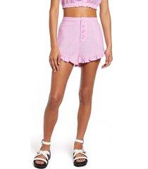 women's bp. ruffle detail linen blend shorts, size x-large - pink