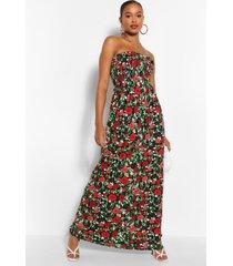 tall geplooide strapless bloemenprint maxi jurk, rood