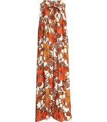zaza strapless printed crepe dress