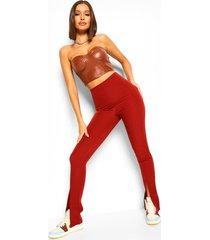 getailleerde strakke broek met zijsplit, brick