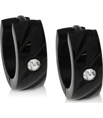 sutton by rhona sutton men's black-tone stainless steel & cubic zirconia small hoop earrings s