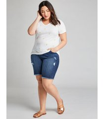 lane bryant women's signature fit boyfriend bermuda denim short - dark wash 28 dark denim