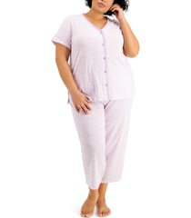 charter club plus size cotton cropped pajama pants set, created for macy's